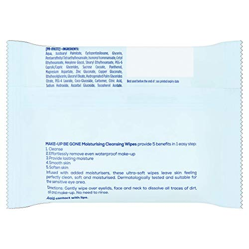 Johnson's Face Care Makeup Moisturising Wipes, Pack of 25