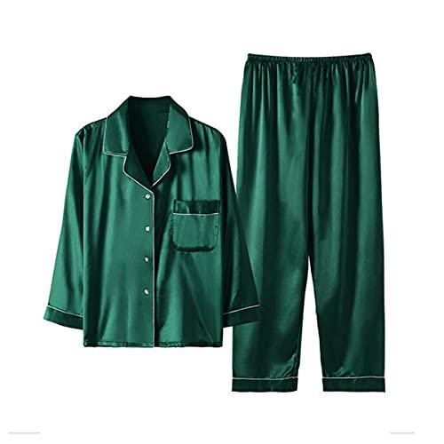Conjunto de pijama de mujer más tamaño seda servicio hogar verano verde2 4XL