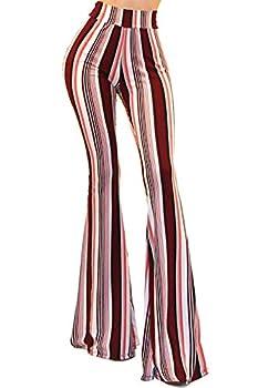 Vivicastle Women s Boho Comfy Stretchy Bell Bottom Flare Pants  BP8 Multi Small