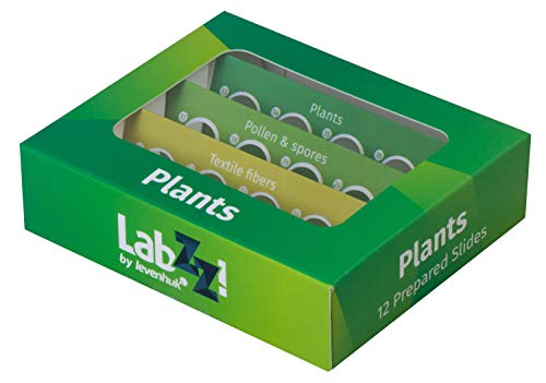 Levenhuk LabZZ P12 Plants Prepared Botany Slides Set for Microscope with Specimens of Plants, Pollen, Spores, Textile Fibers