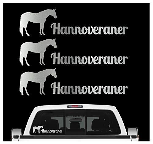 Siviwonder Hannoveraner Pferdesport Aufkleber 3er Set Pferdeaufkleber Pferd reiten Auto Folie Farbe Silber, Größe 20cm