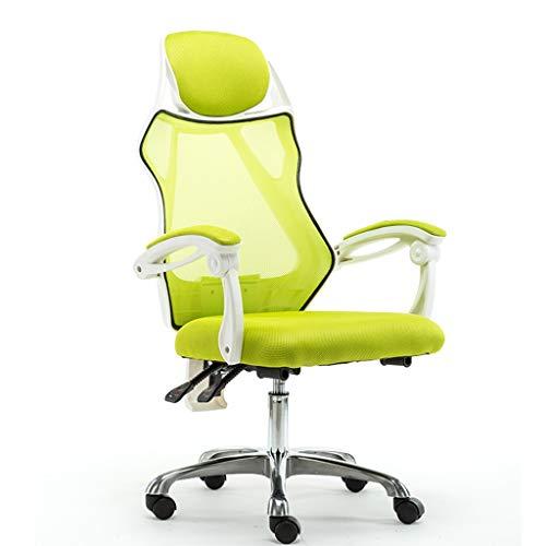 JiaJu002 Sedia da Ufficio, Poltrona con Funzione Tilt E Ruote in Nylon/Supporto per La Testa Computer Sedia da Scrivania (Struttura Bianca) (Colore : Verde)