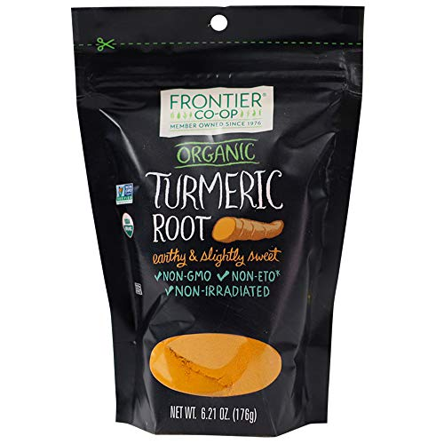 Frontier Co-op Turmeric Root Powder (minimum 4% curcumin), Certified Organic, Kosher | 6.21 oz Resealable Bag | Curcuma longa L.