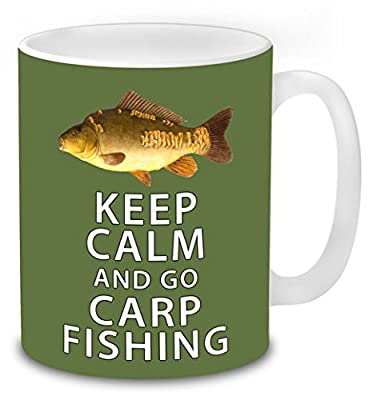 Keep Calm and go Carp Fishing, Fishing Mug Carp Fishing Funny Novelty Coffee Tea Work Mugs Fishing Gifts Idea. from total-tees