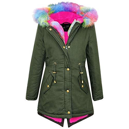 A2Z 4 Kids® Kinder Mädchen Mit Kapuze Jacke Designer Regenbogen Pelz - Parka Jacket Rainbow Fur Khaki 9-10