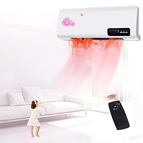 LITING Calefactor Eléctrico, Calentador de casa Calefactor de baño Split programable con Mando a Distancia, 2000 W, 2 Niveles de Potencia y Modo Ventilador