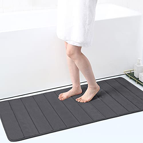 Buganda Memory Foam Soft Bath Mats - Non Slip Absorbent Bathroom Rugs Rubber Back Runner Mat for Bathroom Floors 24' x 47', Dark Grey