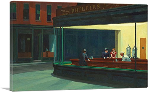 ARTCANVAS Nighthawks 1942 Canvas Art Print by Edward Hopper - 40' x 26' (0.75' Deep)