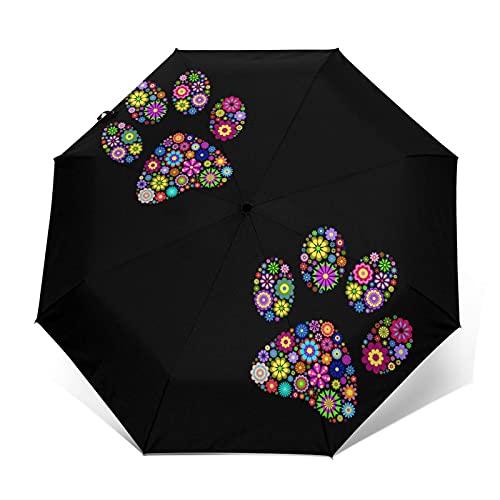 折りたたみ傘花柄の動物の足跡 ワンタッチ 自動開閉軽量 8本骨 大きい おりたたみ傘 台風対応 梅雨対策 超撥水 晴雨兼用 UVカット 紫外線遮蔽 折り畳み傘