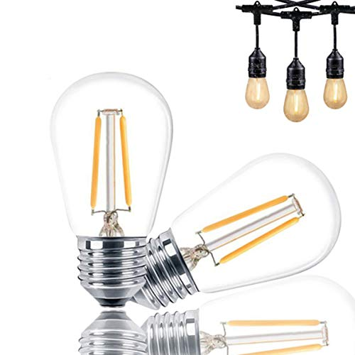 Svater S14 LED Bulb E27 1W Edison Filament Warm White 2700K Equivalent to 11W Incandescent for Outdoor String Lights Replacement Bulb Pack of 2