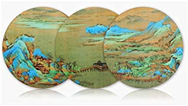 Cork Coasters Round Cup Mats Painting A Panorama of Rivers and Mountains Produced By the Palace Museum Forbidden City Set of 3