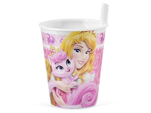 Home Disney Princess Bicchiere con Cannuccia in Polipropilene, Rosa, 400 CC