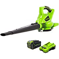 GreenWorks 24322 G-MAX 40V 185MPH Variable Speed Cordless Blower/Vac with 4Ah Battery & Charger