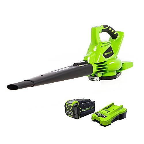 Greenworks 40V (185 MPH) Brushless Cordless Blower / Vacuum, 4.0Ah Battery and Charger Included 24322