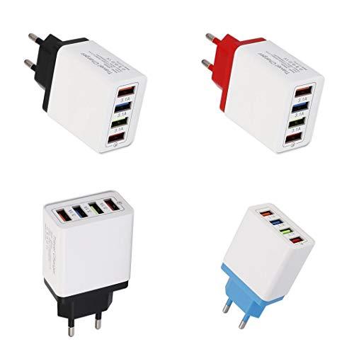 kemanner 4 Porta USB Caricabatterie colorato 3A Testa di Ricarica da Viaggio per iPad Caricabatterie a induzione