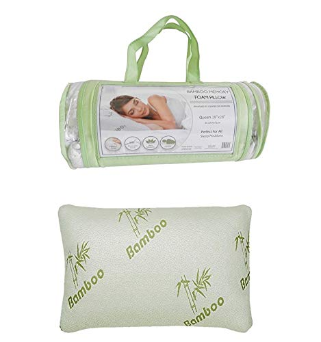Homestyle Bamboo Memory Foam Pillow in a Bag - Standard Queen Hypoallergenic Helps Relieve Snoring, Migraines, Insomnia, Neck Pain and TMJ - May Help with Asthma