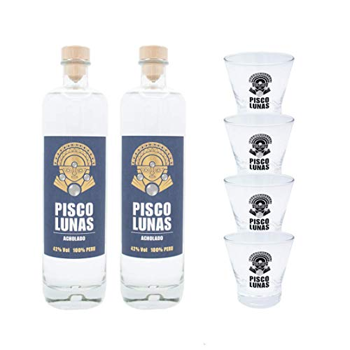 Lunas Party Set: Pisco Lunas Acholado (2 x 0,7 l) + Pisco Sour Gläser (4 x 0,25l)