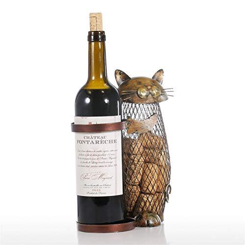 househome - Portabotellas de vino, estante de vino, soporte de corcho, diseño de gato, bonito y portabotellas, Catty Bank Home decoración del hogar