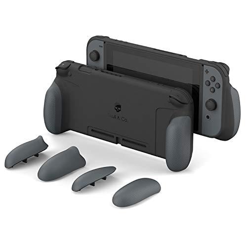 Skull & Co. GripCase: Eine andockbare Schutzhülle mit austauschbaren Griffen [passend für alle Handgrößen] für Nintendo Switch [Keine Tragetasche] - Grau
