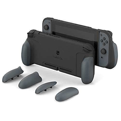 Skull & Co. GripCase: A Dockable Protective Case with Replaceable Grips [to fit All Hands Sizes] for Nintendo Switch [No Carrying Case] - Gray