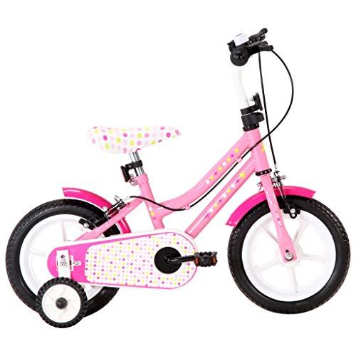 vidaXL Kinderfahrrad mit Kettenschutz Schutzblech Höhenverstellbarer Lenker Mädchenfahrrad Kinderrad Fahrrad für Kinder Mädchen 12 Zoll Weiß Rosa