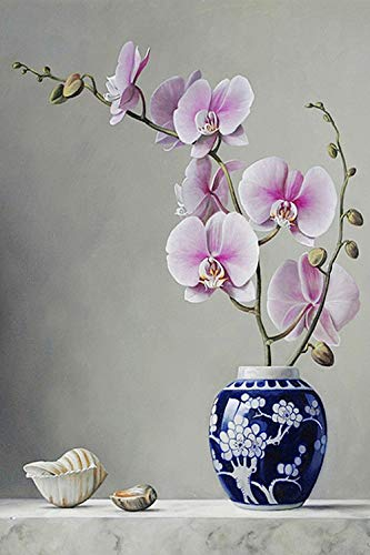 Paint by Number Kits Canvas DIY Oil Painting for Kids, Students, Adults Beginner with Brushes and Acrylic Pigment -Vase Flower Arrangement Rose Orchid Tulip (1008, 16x20 no Frame)