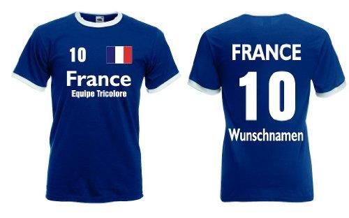 Fruit of the Loom France/Frankreich Herren T-Shirt Retro mit Wunschname & Nummer XL