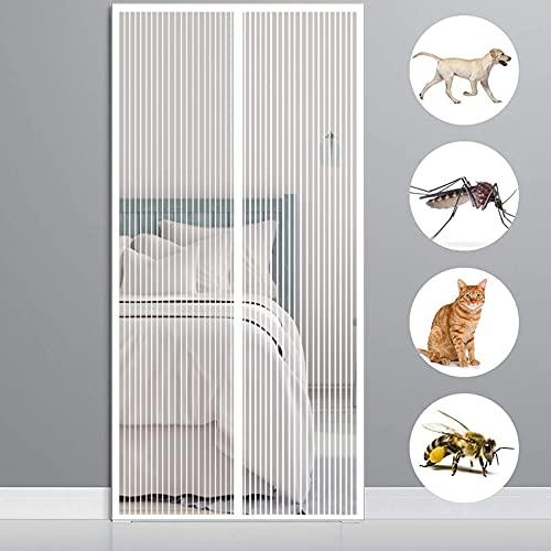 Mosquitera Puertas 80x210cm(31x83inch) contra Insectos Mosquitera Magnética Permite Entrada Aire Fresco para Puertas Cortina de Sala de Estar la Puerta, Blanco