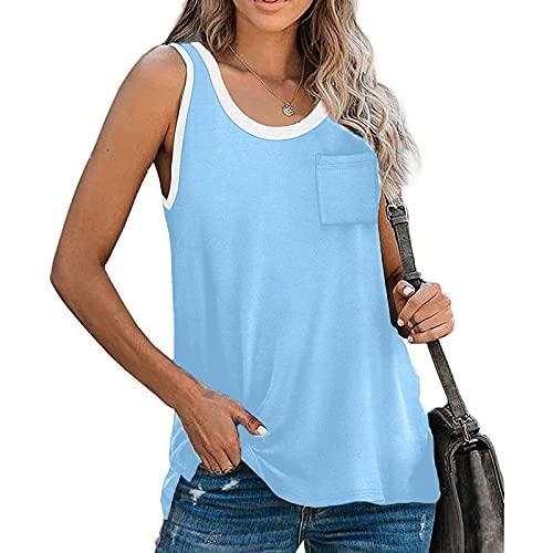 hainJS - Camiseta básica de verano para mujer, estilo clásico, suelta, sin mangas, informal, para verano, estilo urbano azul Small/Medium