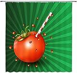 BROOE Tomatensaft Duschvorhang Tomaten Badezimmer Duschvorhang Grüner Hintergr& Tomaten Duschvorhang Dekoration Stroh Tomaten Duschvorhang Set verblasst Nicht Tomatensauce Duschvorhang