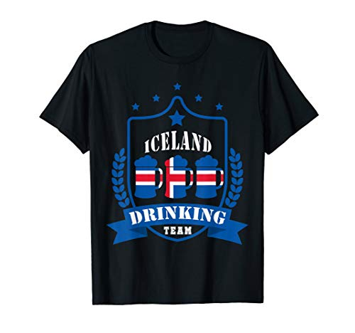 Beer Iceland Drinking Team Casual Iceland Flag T-Shirt
