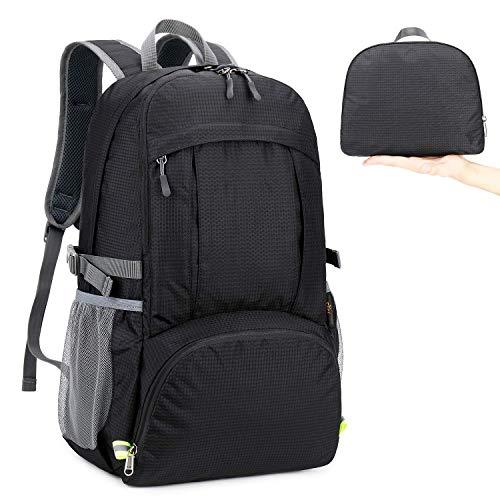 MRPLUM 30L-35L Rucksack Foldable Ultralight Packable Backpack, Unisex Durable Handy Daypack for Travel & Outdoor Sports Durable & Waterproof (Black-5)
