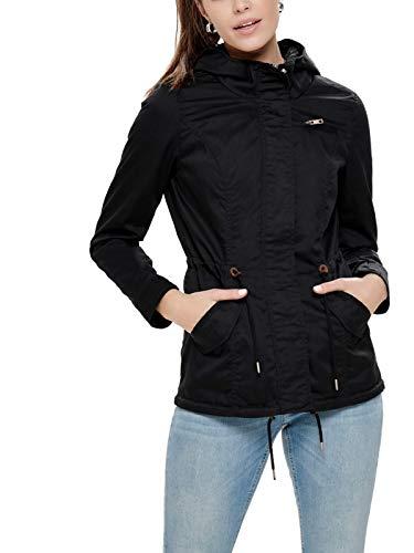 ONLY Damen Parka Übergangsjacke Kurzmantel Kapuzenjacke (38 (Herstellergröße: M), Black)