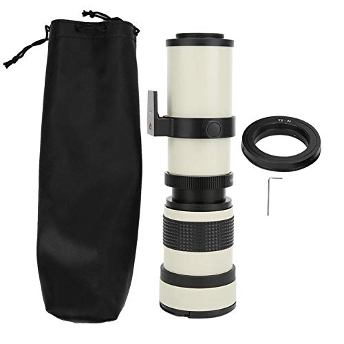 Semiter Lente de Enfoque Manual, Lente telescópica, Lente de 420-800 mm Super Zoom Blanco Manual Completo para Regalo Accesorios de cámara para fotógrafos Cámara Nikon con Montura F