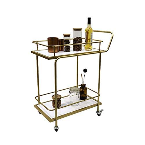 IREANJ Carro de servicio de hierro forjado de 2 niveles para hogar, hotel, restaurante, vino rack multifuncional (dorado, 86 x 60 x 35 cm)