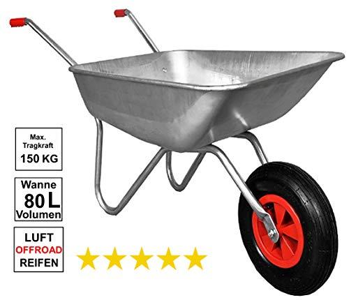 Schubkarre 80L 150kg Belastbarkeit verzinkter Stahlrohrrahmen Bauschubkarre Gartenkarre Schiebkarre