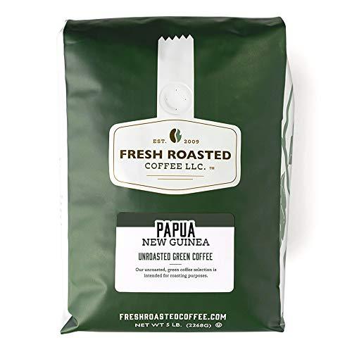 Fresh Roasted Coffee LLC, Green Unroasted Papua New Guinea Coffee Beans, 5 Pound Bag