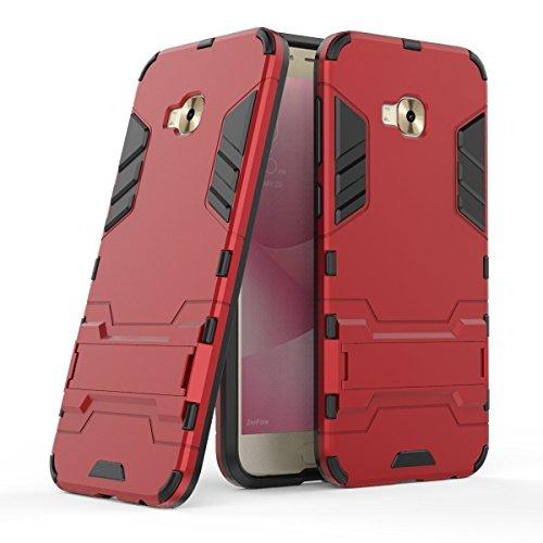 Hülle für Asus ZenFone 4 Selfie Pro ZD552KL (5,5 Zoll) 2 in 1 Hybrid Dual Layer Shell Armor Schutzhülle mit Standfunktion Case (Rot)