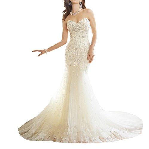 XUYUDITA Sweetheart de Las Mujeres con Cuentas de Encaje de CORS¨¦ Sirena Vestido de Novia Vestido de Novia Blanco-40