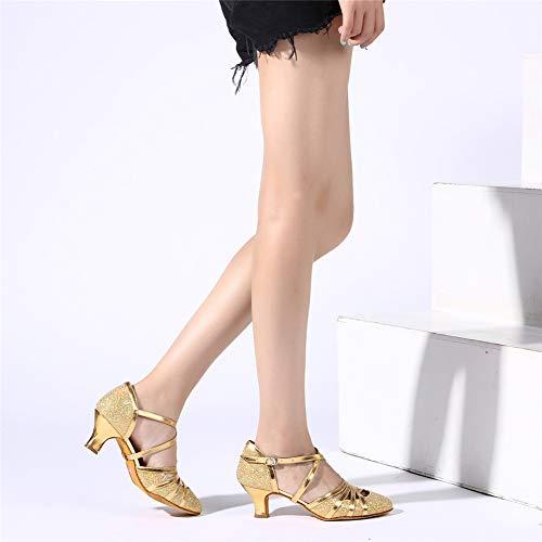 HROYL Damen Tanzschuhe/Latin Dance Schuhe Glattleder Ballsaal Modell-D5-512 Gold 39 EU - 5
