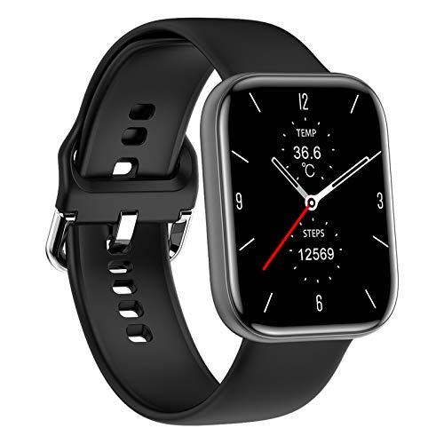 QFSLR Smartwatch, Reloj Inteligente Mujer Hombre con Oxigeno(Spo2), Monitor De Presión Arterial Contador Caloría Pulsómetros Pulsera Actividad Inteligente para Android Y iOS,Black e