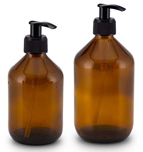 Lifestyle Lover Seifenspender aus Braunglas, Bernsteinfarben für Seife Spüli Shampoo Lotionen 300ml & 500ml Braun Glas