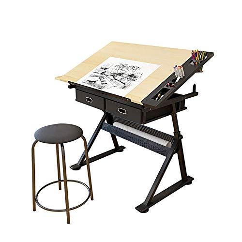 XSN Kinderschreibtisch Schülerschreibtisch Einstellbare Tischhöhe, Neigungswinkel 0~80 °, Mit 2 Schubladen Malertisch Möbelset Sehr Gut Zum Lernen, Lesen Und Zeichnen Geeignet