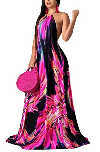 LKOUS Women's Casual Floral Print Backless Sleeveless Loose Party Long Maxi Dress Plus Size Purple