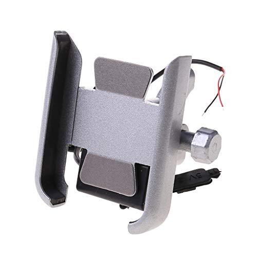 BANGNA Soporte para teléfono Inteligente de Motocicleta de Metal 12V con Cargador USB para teléfono móvil de 4-6.5 Pulgadas
