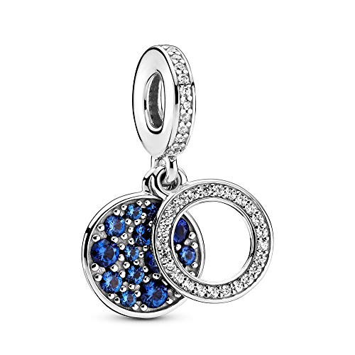 LISHOU Charm Beads 925 Plata De Ley Muérdago Colgante Moda Diamante Cristal Se Adapta A Pulsera Collar para Mujeres Niñas Esposa Hija Joyería De Bricolaje Fabricación De Regalos Plata-Azul