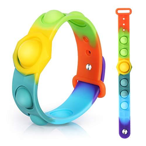 i-FSK Stress Relief Wristband Fidget Toys, Wearable Push Pop Bubble Sensory Fidget Hand Finger Press Silicone Bracelet Toy (Rainbow-A)