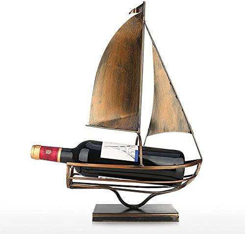 SCYMYBH Vino Estante Hierro Creativo Vino Estante Independiente Vela Vino Botella Titular de Botella clásico Botella de Almacenamiento Tenedor práctico decoración Titular de Vino