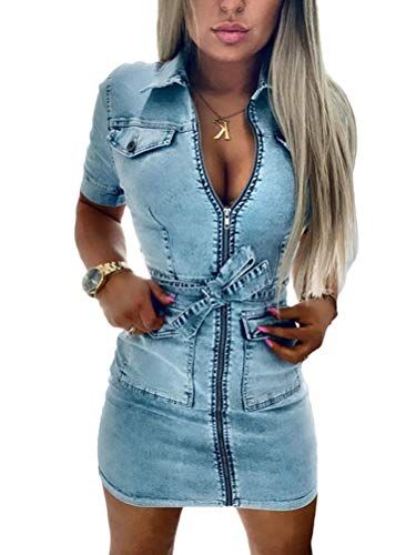 Onsoyours Damen Minikleid Sommerkleid Bodycon Jeanskleid Bleistiftrock Partykleid Reißverschluss Blusenkleid Clubwear Cocktailkleid Hellblau M