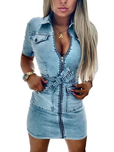 Onsoyours Damen Sommer Sexy Bodycorn Jeanskleid Mit Knopf Ärmelloses Denim Blau Mini Kleid Vintage Tasche Kurz Dress Hellblau XL